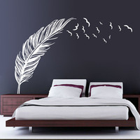 Wholesale Brown White Black Flying Feather Birds Wall Sticker Decals for Bedroom Living Room Decoration Wallpaper Art