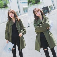 Wholesale Autumn Korean Style Women Loose Army Green Tie Waist Cardigan Stand Collar Medium Long Style Jacket