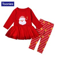 Wholesale Christmas Oufits Santa Claus Cartoon Print Long Sleeve Tutu Dress Tops Striped Leggings Cute Ruffles Top Pants Red Girls Outfits Pieces
