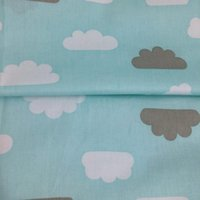 acrylic tents - 1 meter fashion blue clouds cotton twill fabric DIY home decor kids doll textile quilting tent pet chic cloth for sewing