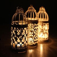 Wholesale white color Bird Cage Decoration Candle Holders metal lantern candelabra Wedding Candlestick home wedding decor style to choose