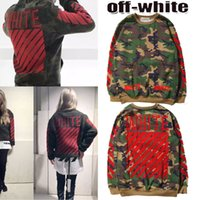 Wholesale OFF White Virgil Hoodies Camouflage Round Neck Pullover Hoodies Red Striped Men Women Fleece Hoodies Sweatshirt Autumn New