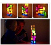 Wholesale Tetris Light Tetris Pieces Constructible Retro Game Style Three dimensional Stackable Puzzle LED Desk Lamp Magic Puzzle Cube Christmas Gif