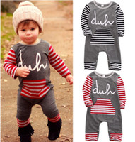 Wholesale hot sale casual baby suit Kids children Boy Girl Striped Cotton long sleeve Romper spring autumn fashion Jumspuit Playsuit Outfit Clothes
