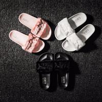 Wholesale Brand New Rihanna Fenty Leadcat Fur Slides Pink Black White Slide Sandal Womens Slippers retail Fashion PuMas Rihanna sneaker