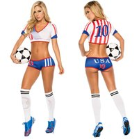 baby football costumes - Sexy Cheerleader Costume Soccer Cheerleading Uniforms Costumes for Rio Olympics Football Baby Sexy Sports Costume USA Brasil Argentin