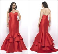Wholesale Satin Fabric Mermaid Prom Dress - Modern Red Mermaid Prom Evening Dresses Plus size 2017 Satin Fabric Floor length Long Backless Cheap Special Occasion Formal Pageant Dress