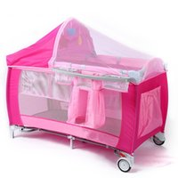 Wholesale 2016 New Style Multifunctional infant crib casters mosquito nets cot playpen portable safety folding Baby Cribs