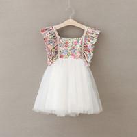 Wholesale 2017 Newest Children Summer Dresses Girl Lace Flower Princess Party Dress Kids Suspender Wedding Full Dress
