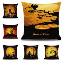 bat pillow - Angry Pumpkin Pillow Case Halloween Pumpkin Lantern Pillowcases Horrible Castle Cushion Cover Witch Pillowcase Bat Pillow Cover Home Decor