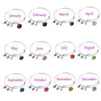 amethyst birthstone jewelry - fashion Alex Ani Crystal birthstone monthes alloy expanded bangle jewelry DIY charm bracelets