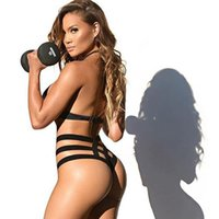 Wholesale Black Bandage Bikinis Sexy Low Waist Lycra Swimwear Sandbeach Holiday Fashion Swimsuit High Quality for Women