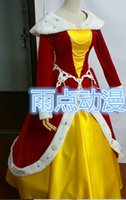 belle shop - Free shopping Beauty and the Beast Christmas dress Belle cosplay princess red and yellow dress for girl gothic dress costumes