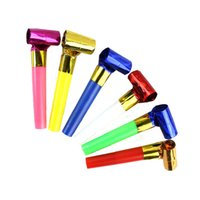 adult birthday supplies - 100pcs Long cm Plastic Blowing Whistles Blow Roll Wedding Birthday Festival Party Supplies Adults Children Cheering Props