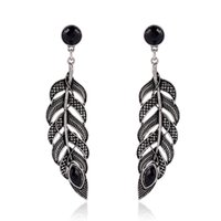 Wholesale Bohemian Resin silver Feather earrings For women Fashion Drop Dangle Earrings Vintage Hollow Out Long Earrings boucle d oreille