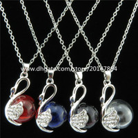 add circle - Glass Diffuser Swan Essential Oils Hole Bottle Necklace quot Add Perfume Syringe