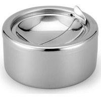 Wholesale Stainless Steel Windproof Ashtrays Flip top Table Top Smokeless Ashtray