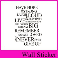 Wholesale ZY8033 Have Hope Loud Never ever Give up English Saying Quote Vinyl Wall Art Decals Carve and dig Window Car Stickers Home Decor