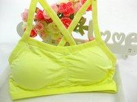Wholesale School Girl Underwear - Beauty School Students Girl Lady Vest Underwear Cross Belt Vest Girls & Hot sale Pure color no rims girl bra FAS-10