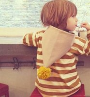 baby sweat shirts - INS babies clothes autumn new boys girls stripe sweat shirt toddler kids khaki stripe long sleeve pullover kids pompon hooded tops A9630
