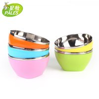 Wholesale colored stainless steel bowl Krean noodles household multi use high quality heat insulation double layer size M hot sale