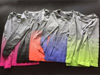 Wholesale Gradient color long sleeve shirt collar ladies summer female sports training run fast dry high elastic fitness clothes