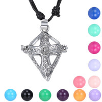 baby cross pendant - Cross Women Pregnancy Chime Ball Necklace Baby Hollow Cage Bell Locket Adjustable length Rope Chain Necklace
