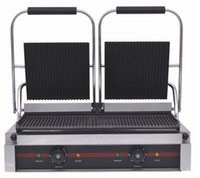 Wholesale XH A Electric doule heater grill non stick ribbed sandwich electric commecial contact grill press griddle Panini maker themoster