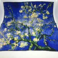 hand painted silk scarf - Quality Oil Painting Floral Print Hand Rolled Twill Silk Scarf Women s Small Square Scarves Wraps Necktie Wristband cm