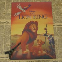 bg wall - vintage movie poster about quot cartoon animals lion quot wall sticker Kraft Paper Retro Bar Cafe Living Room Wall Art BG