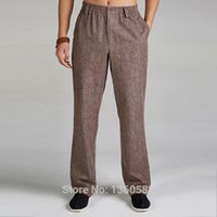 Wholesale High quality Khaki Traditional Chinese style Men s Cotton Linen Kung Fu Trousers Martial Arts Pants Size M L XL XXL XXXL X508