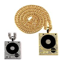 bar chain oil - 2016 Newest Hip Hop Long Chains Necklace Hiphop Bar DJ Box Oil Plating Diamante Phonograph Pendant Hipster Jewelry For Men Women Bijoux