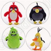 Cheap 4 design KKA104 Birds Black Bomb Male Plush Stuffed Bird Animal Toy Birds Chuck Plush Animal Baby Dolls Pillow Toys 60pcs
