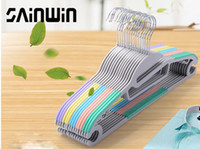 clothes drying rack - 10pcs ot cm Fashion ABS Plastic Hangers for Clothes Home Power Slip resistant Magic Hanger Wet And Dry Dual use Clothes Racks