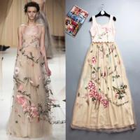 Wholesale HIGH QUALITY Fashion Designer Runway Maxi Dress Summer Autumn Women s Charming Embroidery Gauze Patchwork Tank Long Dress