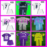 Wholesale goalkeeper Real Madrid Kids Jerseys child teens Shirt James Bale Ronaldo home Second away Jersey or more free to send DHL