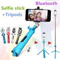 Wholesale Selfie stick Tripods bluetooth selfie timer selfie monopods Extendable Self Portrait Selfie Handheld Stick Factory Offer print logo