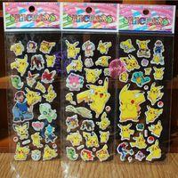 Wholesale 2017 The latest Pok e Pika ch u Anime Cartoon D Stickers PVC Adhesive bubble Stickers puffy stickers cute mini stickers B