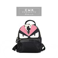 Wholesale CMK KB163 Cool Horsehair Monster Eyes Real Leather Backpack for Girls Kids Fashion School Bags Children Bag Two Colors