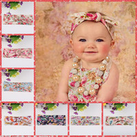 Wholesale Headbands Bohemia print Hair Head Band Baby girl Lovely Bunny Ear baby hair accessories Bow elastic Knot rabbit Wide hair band
