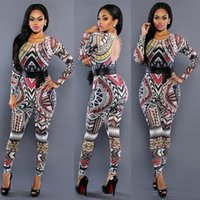 Wholesale Jumpsuit Women Bandage Rompers Sexy Print Bodycon Bodysuit Party Overalls Club Wear Jumpsuit S M L XL FS0668