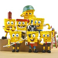 Cheap New hot sale 7pcs set anime figure PVC toy 3D spongebob Patrick Star pirate verson 8CM gift for children free shipping