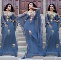 Cheap 2016 Elegant Kaftan Abaya Arabic Evening Dresses Beaded Sequins Appliques Chiffon Long Formal Gowns Dubai Muslim Prom Dresses
