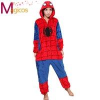 adult spiderman pyjamas - Adults Flannel Onesies Sets Cartoon Animal Spiderman Pajamas Cosplay Halloween Party Costume Sleepwear Pyjamas for Men Women