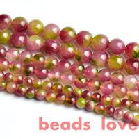achat en gros de collier de pierre gemme verte-Livraison gratuite Natural Stone Rose Vert Jade lâche Beads4 6 8 10 12mm Bijoux DIY Bracelet Collier Gemstone Making-F00275 fabrication de bijoux