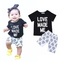 american made pants - Retail INS Girls Boys Clothing Set Letter Printed Baby Clothes Love Made Me Short Sleeve T shirt Triangle Pattern Short Pants Kids Sets