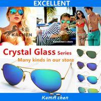 achat en gros de lunettes de soleil orange vert-KaChen marque miroir rose vert bleu argent UV400 protection populaire hommes originale fille vacances lunettes de soleil verres