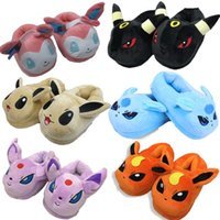 Wholesale Poke Soft Warm Indoor Slipper Adult Cotton Eevee Plush Slippers Fluffy Slippers Stuffed Winter Plush Adult Cosplay Slippers Shoes