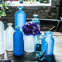 flower vases - Guaranteed Mediterranean style wide mouth frosted glass vases large flower vases Blue vases decoratives