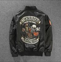 al por mayor cazadoras vendimia-Chaqueta de bombardero Otoño-2016Skull Impreso de dos ruedas de la jinete de los hombres de la vendimia rockroll Harley Punk Band Ma-1 chaqueta de vuelo de la Fuerza Aérea Piloto